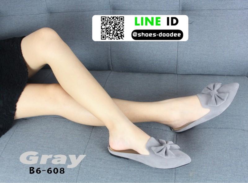 รองเท้าส้นเตี้ย แบบสวม เปิดส้น B6-608-GRY [สีเทา]