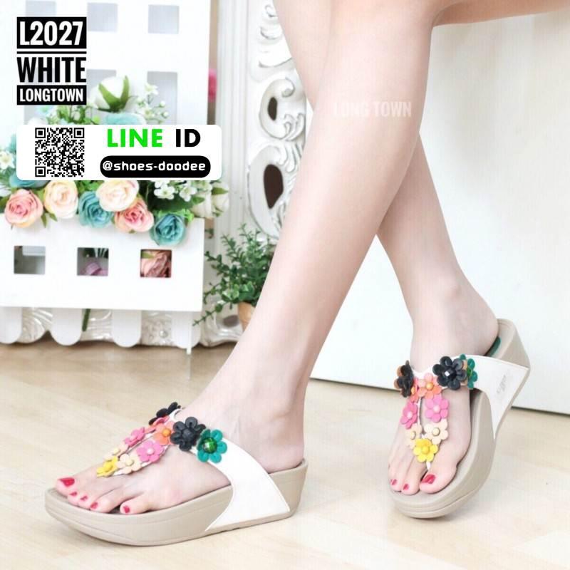 รองเท้าสายสุขภาพแต่งดอกไม้สวยงาม L2027-WHT [สีขาว]