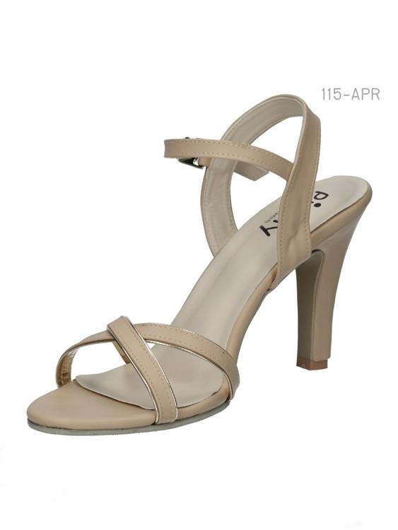 รองเท้าส้นสูงรัดส้น สายรัดตะขอเกี่ยว (สีแอปปริคอท )
