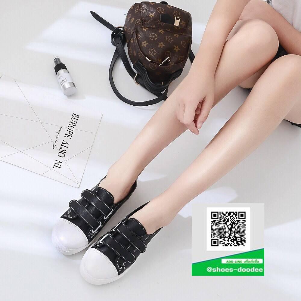 รองเท้าผ้าใบแฟชั่นสีดำ หนังนิ่ม (สีดำ )