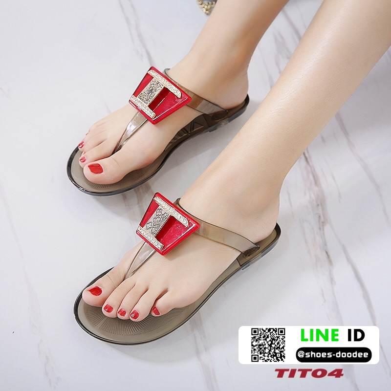 รองเท้าแตะส้นแบน jelly sandals TIT04-RED [สีแดง]