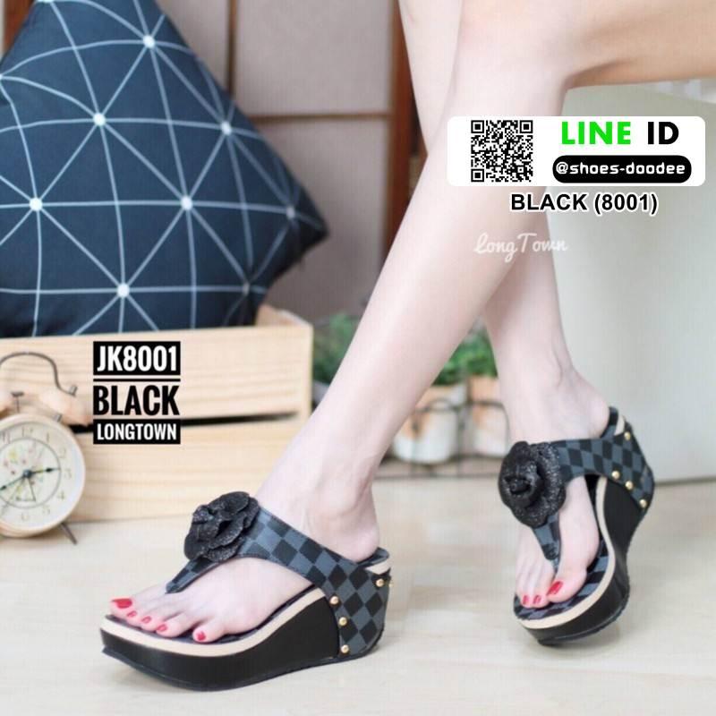 รองเท้าลำลองแบบคีบ LV(Luis Vuitton)Damier 8001-BLACK [สีดำ ]