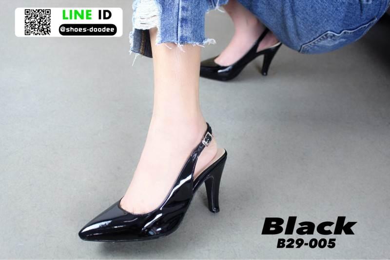 รองเท้าส้นสูงหัว แหลมรัดส้น B29-005-BLK [สีดำ]