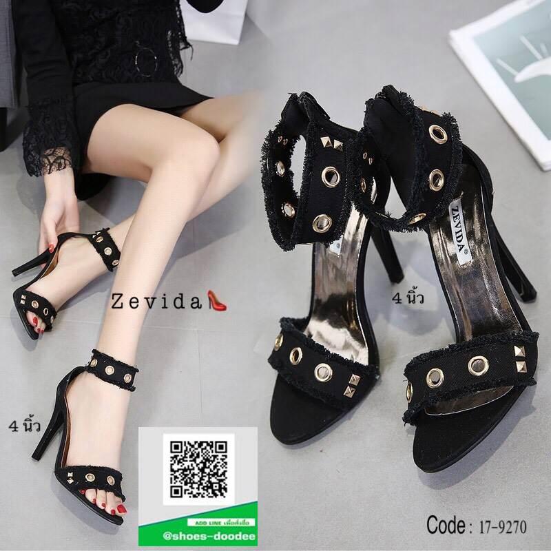 รองเท้าส้นเข็มรัดข้อสีดำ ผ้ายีนส์แต่งห่วง (สีดำ )