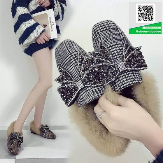 รองเท้าคัทชูแฟชั่น สไตล์เกาหลี ทรงหัวตัด แต่งโบว์เพชร (สีดำ )