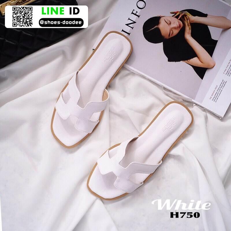 รองเท้าแตะ HERMES logo sandal H750-WHI [สีขาว]
