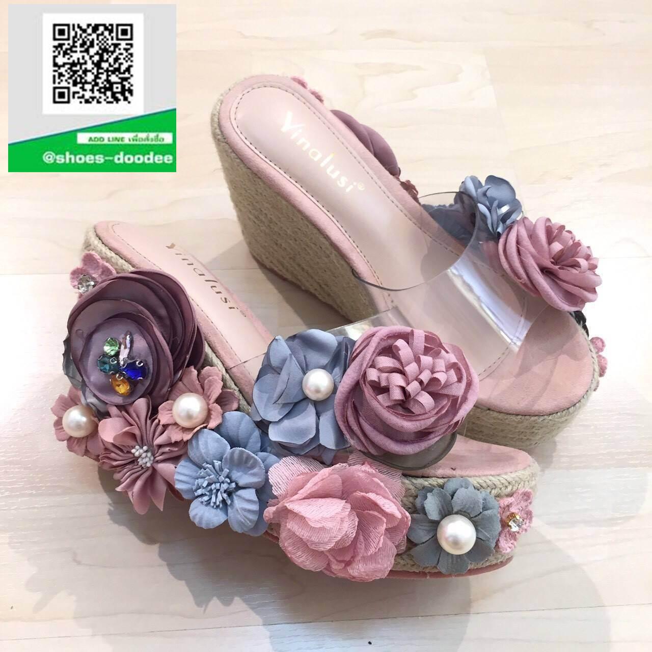 รองเท้าส้นเตารีดแบบสวม เปิดส้น แต่งดอกไม้ (สี)