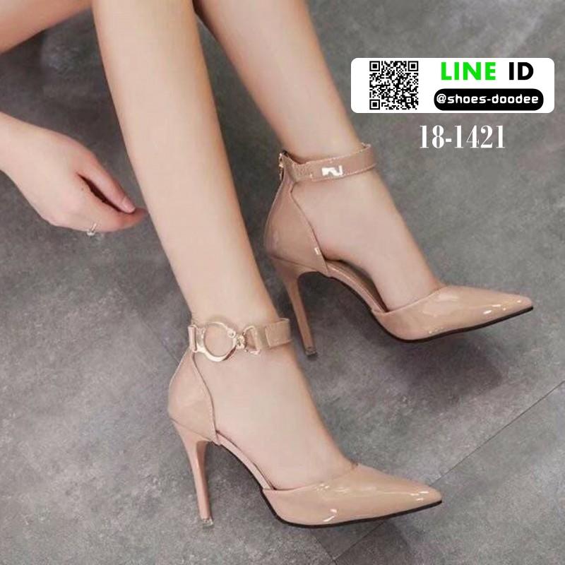 รองเท้าส้นสูงนำเข้า หัวแหลมรัดข้อ ซิปหลัง 18-1421-PINK [สีชมพู]