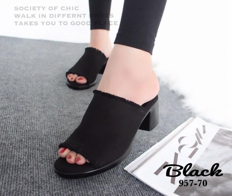 รองเท้าแตะส้นตันสีดำ ผ้ายีนส์แต่งชายลุ่ย พื้นนวมนิ่ม (สีดำ )