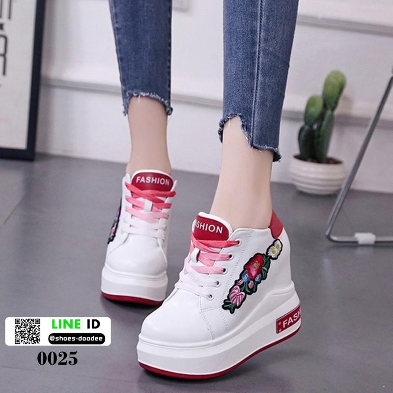 รองเท้าผ้าใบเสริมส้นนำเข้า สไตล์เกาหลี 0025-RED [สีแดง]
