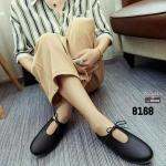 รองเท้าคัทชูส้นเตี้ยสีดำ ผูกเชือกเล็กๆ สไตล์ญี่ปุ่น (สีดำ )