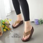 รองเท้าแตะเพื่อสุขภาพสีน้ำตาล แบบคีบ ดีเทลสายติดคริสตรัล (สีน้ำตาล )