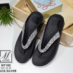 รองเท้าแตะเพื่อสุขภาพ แบบคีบ พื้น Soft Comfort (สีเงิน )