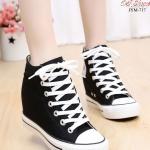รองเท้าผ้าใบหุ้มข้อสีขาว สริมส้น ผ้าแคนวาส (สีดำ )