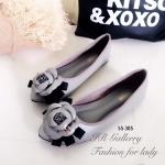 รองเท้าคัทชูส้นแบนสีเทา หัวแหลม Style Chanel (สีเทา )