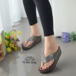รองเท้าแตะเพื่อสุขภาพสีเทา แบบคีบ ดีเทลสายติดคริสตรัล (สีเทา )