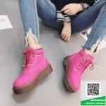 รองเท้าบูทหุ้มข้อสีดำ สไตล์เกาหลี (สีดำ )