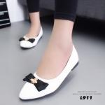 รองเท้าคัทชูส้นเตี้ยหัวแหลมสีขาว หนังนิ่ม สไตล์แบรนด์ DIOR (สีขาว )