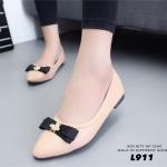 รองเท้าคัทชูส้นเตี้ยหัวแหลมสีครีม หนังนิ่ม สไตล์แบรนด์ DIOR (สีครีม )
