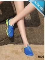 รองเท้าผ้าใบผู้หญิงสีน้ำเงิน แบบตาข่าย ระบายอากาสได้ดี พื้นสีเหลือง รองรับน้ำหนักได้ดี สวมใส่สบายเท้า ทรงทันสมัย แฟชั่นพร้อมส่ง