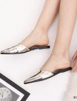 รองเท้าส้นเตี้ยสีทอง ทรงหัวปิด งานสไตล์ZARA หนังพียูเมทาลิค ใส่สบาย หน้าเท้าอวบกว้าง+1ไซส์จากปกติ