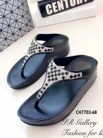 รองเท้าแตะ เพื่อสุขภาพ แบบคีบ สไตล์ฟิตฟลอป (สีดำ )