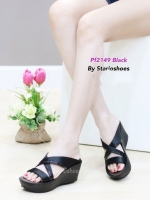 รองเท้าส้นเตารีด เปิดส้น สายไขว้ (สีดำ )