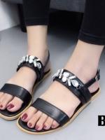 รองเท้าแตะรัดส้นสีดำ สไตล์แบรนด์ MIU MIU (สีดำ )