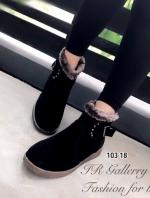รองเท้าบูทผู้หญิง ขอบขนมิงค์ (สีดำ )