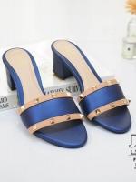 รองเท้าส้นตันเปิดส้นสีน้ำเงิน style แบรนด์ valentino (สีน้ำเงิน )