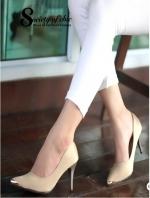 รองเท้าคัชชูหัวแหลม ผ้าซาติน (สีกากี )