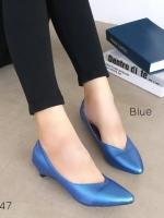 รองเท้าคัทชูส้นเตี้ย หัวแหลม หน้าวี (สีน้ำเงิน)