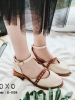 รองเท้าคัทชูรัดข้อสีขาว ทรงเว้าข้าง สไตล์วินเทจ (สีขาว )