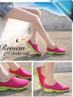 รองเท้าผ้าใบผู้หญิงสีบานเย็น แบบตาข่าย ระบายอากาสได้ดี พื้นสีเหลือง รองรับน้ำหนักได้ดี สวมใส่สบายเท้า ทรงทันสมัย แฟชั่นพร้อมส่ง