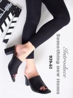 รองเท้าส้นสูงเปิดส้น สไตล์ลำลอง หนังนิ่ม ส้นเหลี่ยม (สีดำ )