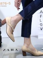 รองเท้าคัทชูส้นตันสีครีม หัวแหลม สไตล์ ZARA (สีครีม )