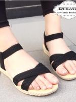 รองเท้าแตะรัดส้นแบบสายรัดเป็นยางยืด (สีดำ)