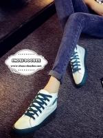 รองเท้าผ้าใบสีน้ำเงิน สุดชิค ทรงสวย แบบเรียบๆ ใส่ได้เรื่อยๆ ใส่นิ้มเดินสบาย