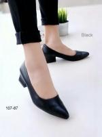รองเท้าคัทชูส้นสูง หัวแหลม ทรงสุภาพ (สีดำ)