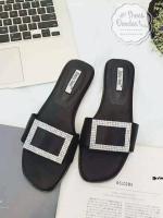 รองเท้าแตะเปิดส้นติดเพรชคริสตัล (สีดำ)