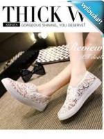รองเท้าผ้าใบผู้หญิงสีขาว ซีทรู ลายลูกไม้ แบบสวม น่ารัก เก๋ไก๋ แฟชั่นเกาหลี แฟชั่นพร้อมส่ง