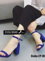 รองเท้าส้นตันรัดข้อสีน้ำเงิน สไตล์เกาหลี ส้นเหลี่ยม (สีน้ำเงิน )