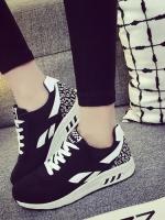 รองเท้าผ้าใบแฟชั่นสีดำ เสริมส้น สไตล์Asics ทรงสปอร์ต สวยเพรียวสวมใส่กระชับ วัสดุผ้าใบสลับหนังPU พิมพ์ลายสีสัน แฟชั่นเกาหลี แฟชั่นพร้อมส่ง