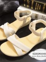 รองเท้าแตะรัดส้นแบบสายรัดเป็นยางยืด (สีครีม)