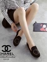 รองเท้าคัชชูสีดำ STYLE-CHANEL ทำจากผ้าด้านหน้าประดับอะไหล่เป็นลายดอกคามิเลีย ทรงสวย ใส่นิ่มเดินสบาย
