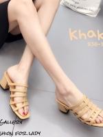 รองเท้าส้นตันสีแทน แบบสวม ดีไซน์งานเส้น (สีแทน )