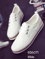 รองเท้าผ้าใบแฟชั่น งานหนังอย่างดี แบบเชือก ทรงสวย (สีขาว )