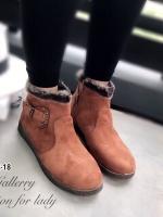 รองเท้าบูทผู้หญิง ขอบขนมิงค์ (สีน้ำตาล )