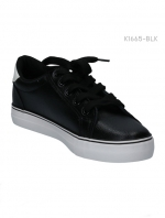 รองเท้าผ้าใบแนวสปอร์ต แต่งแถบขาว (สีดำ )