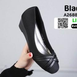 รองเท้าคัชชูส้นเตารีด A2688-46-BLK [สีดำ]